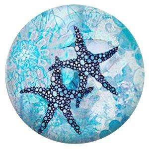 Морская звезда 20MM Окрашенная эмаль, металл C5891 принт голубой