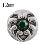 12MM love heart snap con rhinestone verde KS5153-S broches intercambiables de joyería