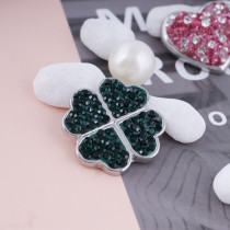 20mm Clover snaps with deep green rhinestone KC4020 snap jewelry