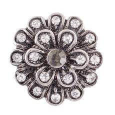 20MM flower snap Antique Silver Plated with white rhinestone KC7031 snap jewelry
