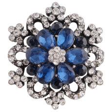 20MM snap silver Plated with deep blue Rhinestones KC7301 snaps jewelry