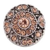 20MM broche redondo plateado antiguo plateado con diamantes de imitación de color naranja claro KC7076 broches de joyería