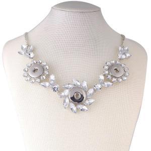 45CM 3 botones collar de metal con diamantes de imitación transparente KC0602 joyería collar rápido