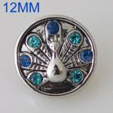 12MM Peacock snap Antique Silver Plated with rhinestone KB5560-S snaps jewelry