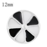 12mm дизайн Маленькие защелки с черно-белой эмалью для ювелирных изделий