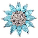 Diseño 20MM de plata chapada con diamantes de imitación azules KC8970 broches de joyería