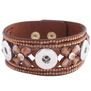 Partnerbeads 8.66inch brown leather bracelets fit 18/20MM snaps chunks KC0250 snaps jewelry