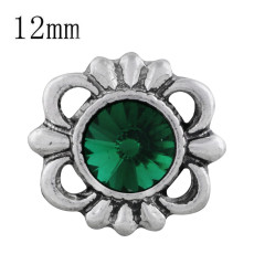 12MM design snap sliver plated with Dark green Rhinestone KS6296-S snaps jewelry
