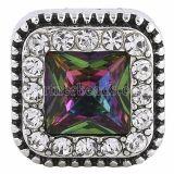 20MM Square Snap Antik Silber mit mehrfarbigen Strasssteinen KC6248 Snaps Schmuck