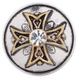 20MM Cross snap Antique Silver and gold plated with Rhinestones KC5189 interchangable snaps jewelry
