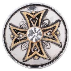 20MM Kreuz Druckknopf Antik Silber und vergoldet mit Strass KC5189 austauschbaren Druckknöpfen