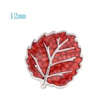 12MM Leaf snap Silver Plated with red Enamel KS6041-S snaps jewelry