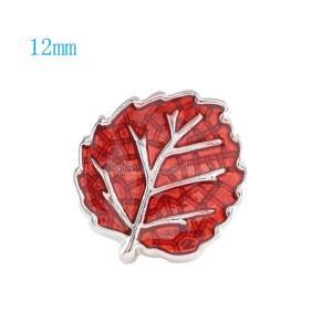 12MM Broche de hoja plateado con esmalte rojo KS6041-S broches de joyería