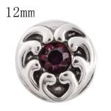 12MM love heart snap con rhinestone púrpura KS5152-S broches intercambiables joyería
