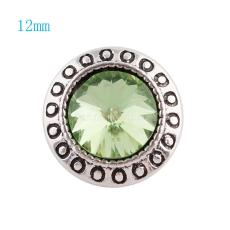 12MM Round snap Silver Plated with clear green rhinestone KS6044-S snaps jewelry