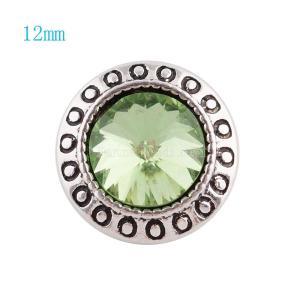12MM Broche redondo plateado con diamantes de imitación verde claro KS6044-S broches de joyería