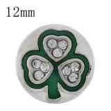 Astilla de trébol 12MM plateada con diamantes de imitación y esmalte verde KS6345-S