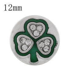 12MM Clover sliver Plated with rhinestone and green enamel KS6345-S