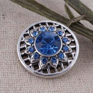 20MM round snap Antique Silver Plated with deep blue Rhinestone  KC8682