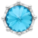 20MM Crown Snap Versilbert mit blauem Strass KC6811 Snaps Schmuck