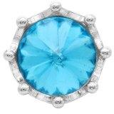 Broche de corona 20MM plateado con diamantes de imitación azules KC6811 broches de joyería