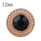 12MM broche redondo de oro rosa con diamantes de imitación negros KS8069-S broches de joyería