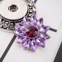 20MM flower snap Silver Plated with purple rhinestone  KC9810 snap jewelry