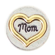 20MM loveheart mother snapps Plateado y dorado KB6928 broches joyería