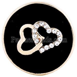 20MM Saint-Valentin Loveheart Snap Plaqué Or avec Strass Noirs et Email KC6210 Enamel pince à bijoux