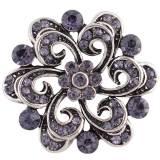 Diseño 20MM complemento plateado antiguo plateado con diamantes de imitación púrpura KC8725 broches de joyería