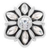 20MM Flowers snap Versilbert mit weißem Strass und Emaille KC7888 snaps jewelry