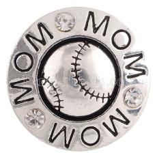 20MM Snap de baseball plaqué argent avec strass blancs KC6202 s'encliquette bijoux