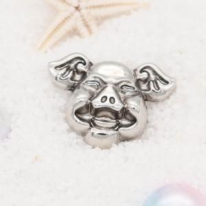 20MM happy pig snap button Chapado en plata KC5721 snap jewelry