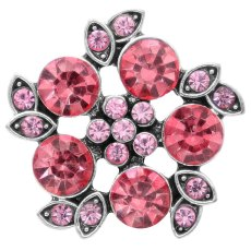 20MM design snap Silver Plated avec strass rose-rouge KC6780 snaps bijoux