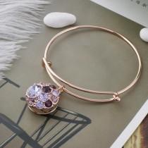 Design 20MM Plaqué or rose avec strass violet KC5640 s'encliquette bijoux