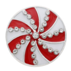 20MM Christmas snap sliver Plated with rhinestone and enamel KC7694 snap jewelry