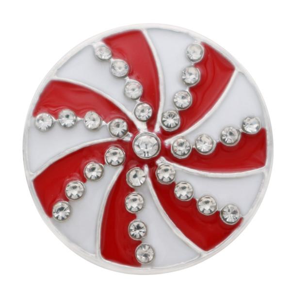20MM Astilla navideña chapada con diamantes de imitación y esmalte KC7694 joyería rápida