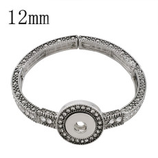 1 buttons snap sliver bracelet with rhinestone fit 12MM snaps jewelry KS1209-S