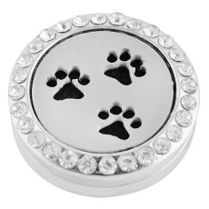 22mm white alloy Paw  Aromatherapy/Essential Oil Diffuser Perfume Locket snap with 1pc 15mm  discs as gift