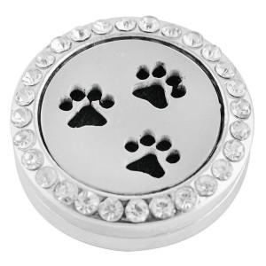 22mm weiße Legierung Paw Aromatherapie / Ätherisches Öl Diffusor Parfüm Medaillon Snap mit 1pc 15mm Scheiben als Geschenk
