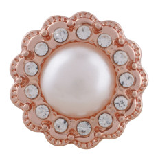 20MM design Rose-Gold Plated with white rhinestone and pearl KC7530 snaps jewelry