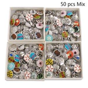 50pcs / lot Botones a presión 20mm Tipos baratos Tipos de mezcla de colores Colores MixMix
