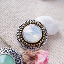 20MM Bouton pression rond en plaqué argent antique avec strass blanc KB6912 s'encliquette bijoux