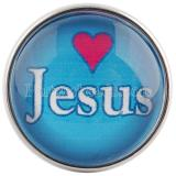 20MM snaps glass of Jesus love me C0554 cyan