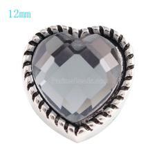 12MM Loveheart snap Antique Silver Plated avec strass gris KS6060-S s'encliquette bijoux