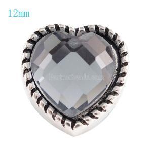 12MM Loveheart Snap Antik Silber Überzogen mit grauem Strass KS6060-S Snaps Schmuck