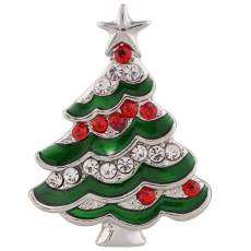 20MM christmas tree snap silver plated with Rhinestone and green Enamel KC7377 interchangeable snaps jewelry