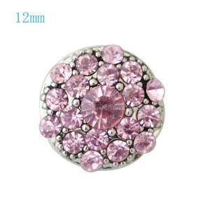 12MM Round snap Versilbert mit pinkfarbenen Strasssteinen KB7227-S schnappt Schmuck