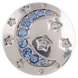 20MM moon snap silver Antique plateado con diamantes de imitación azul claro KC5268 broches de joyería