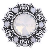 20MM Flower snap Silver Plated with White rhinestones KC6072 snaps jewelry